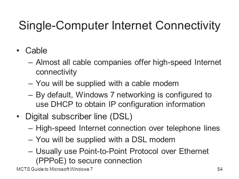 Single-Computer Internet Connectivity