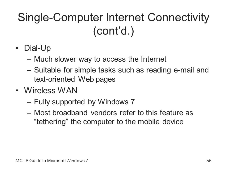 Single-Computer Internet Connectivity (cont'd.)