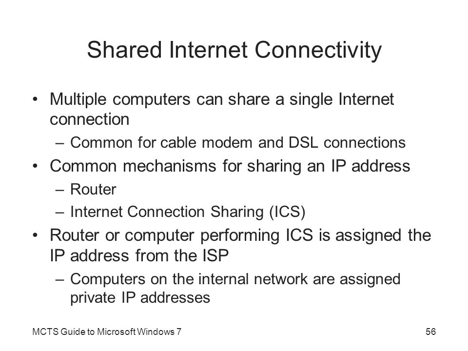 Shared Internet Connectivity