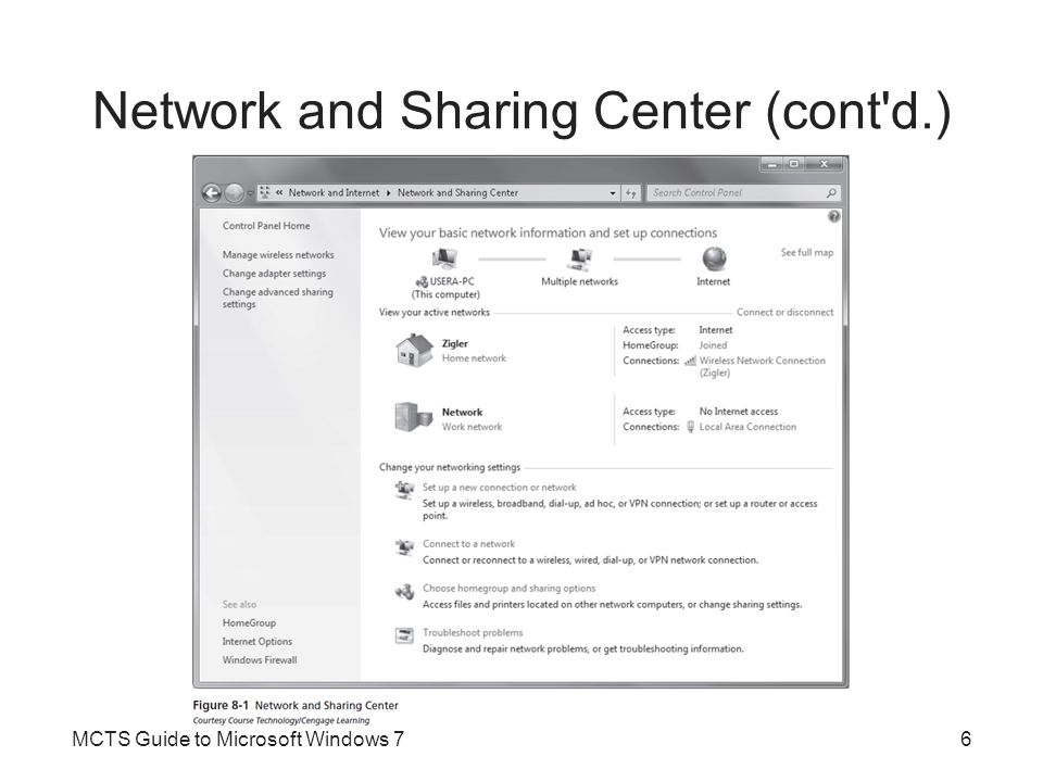 Network and Sharing Center (cont d.)