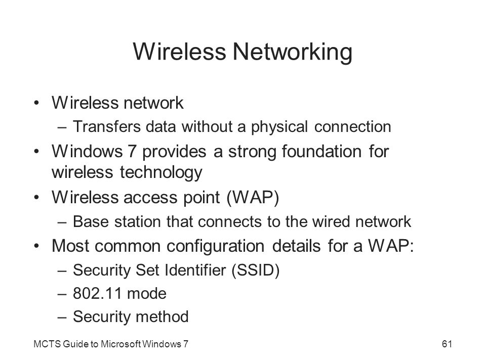 Wireless Networking Wireless network