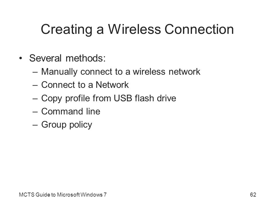 Creating a Wireless Connection