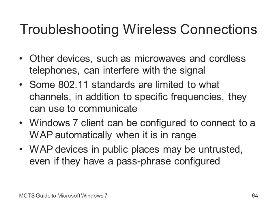 Troubleshooting Wireless Connections