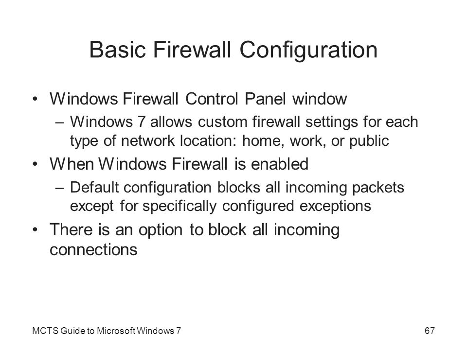 Basic Firewall Configuration