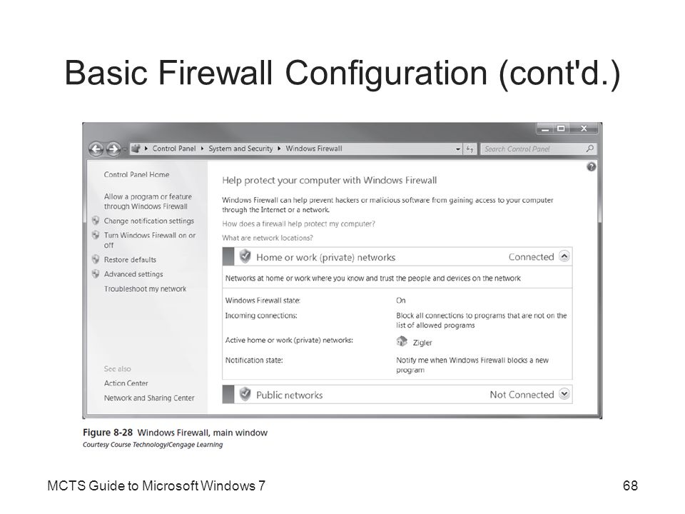 Basic Firewall Configuration (cont d.)