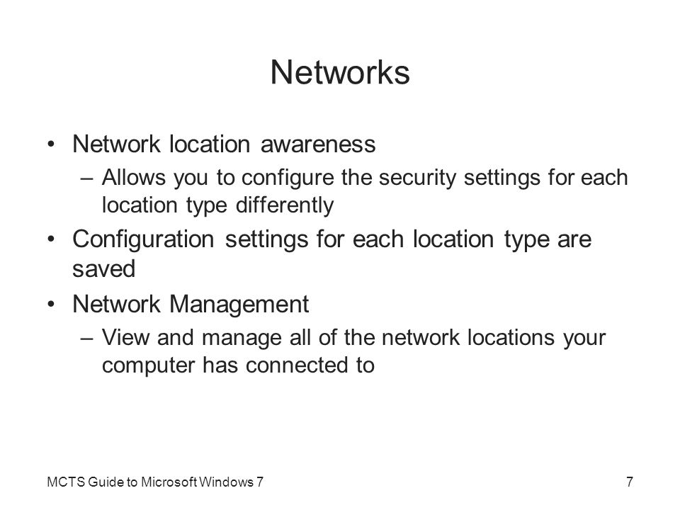 Networks Network location awareness