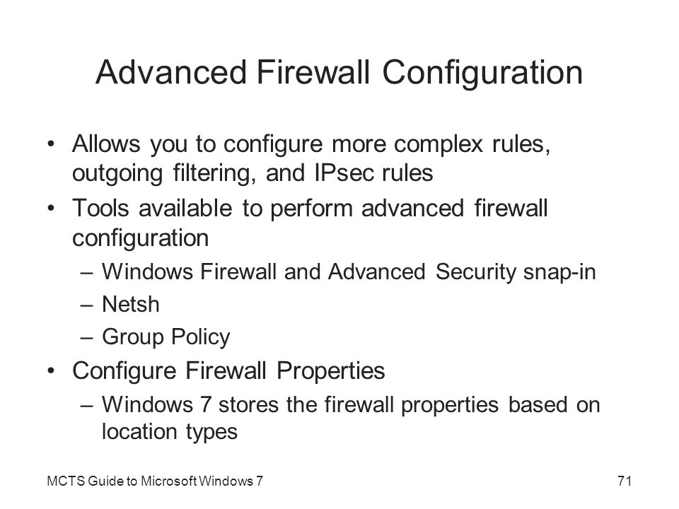 Advanced Firewall Configuration