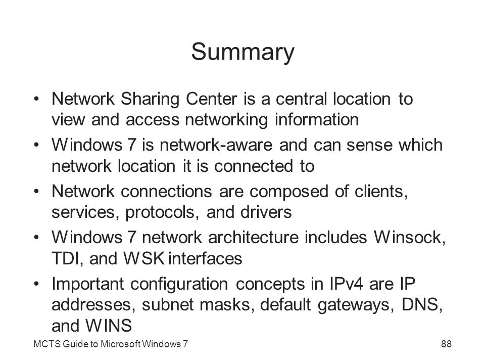 Summary Network Sharing Center is a central location to view and access networking information.