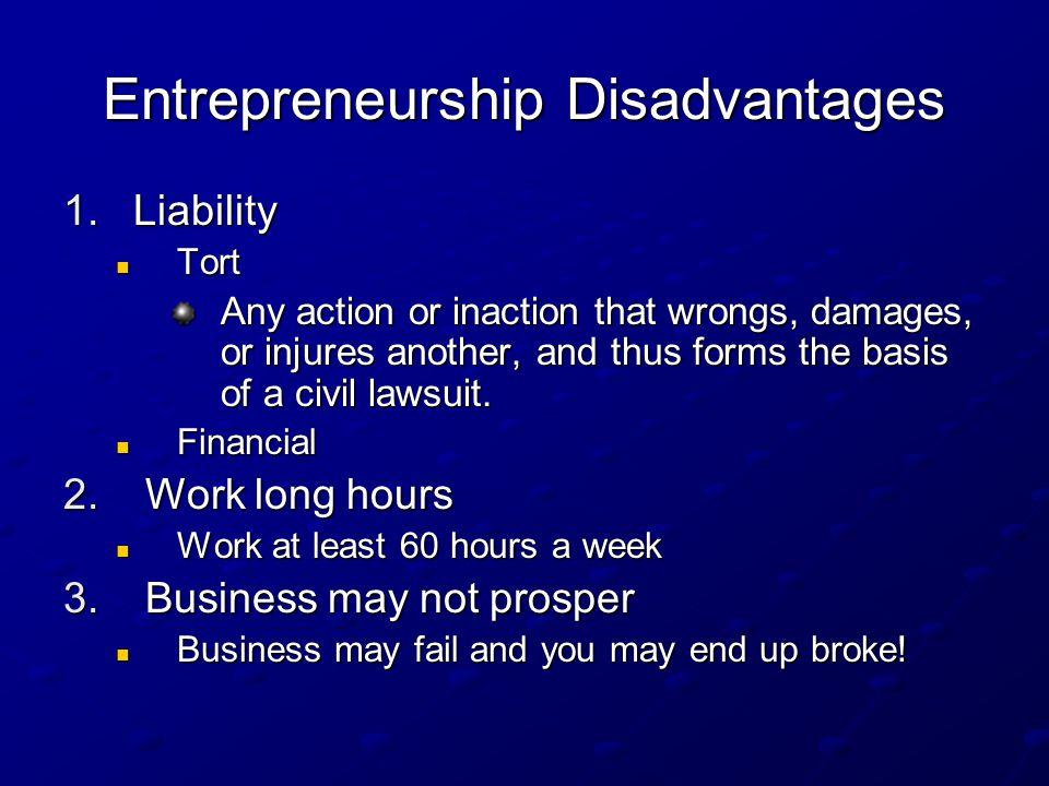 Entrepreneurship Disadvantages