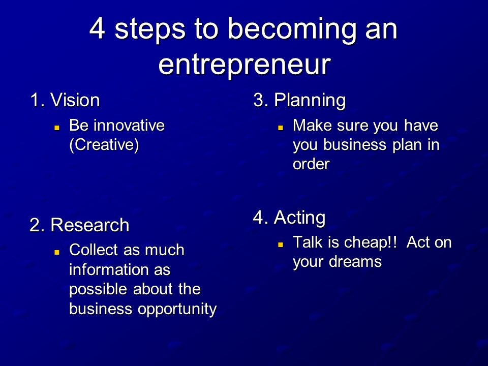 4 steps to becoming an entrepreneur