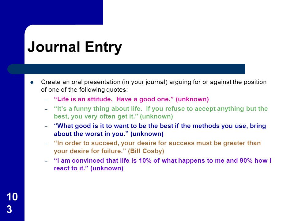 Journal Entry Create an oral presentation (in your journal) arguing for or against the position of one of the following quotes:
