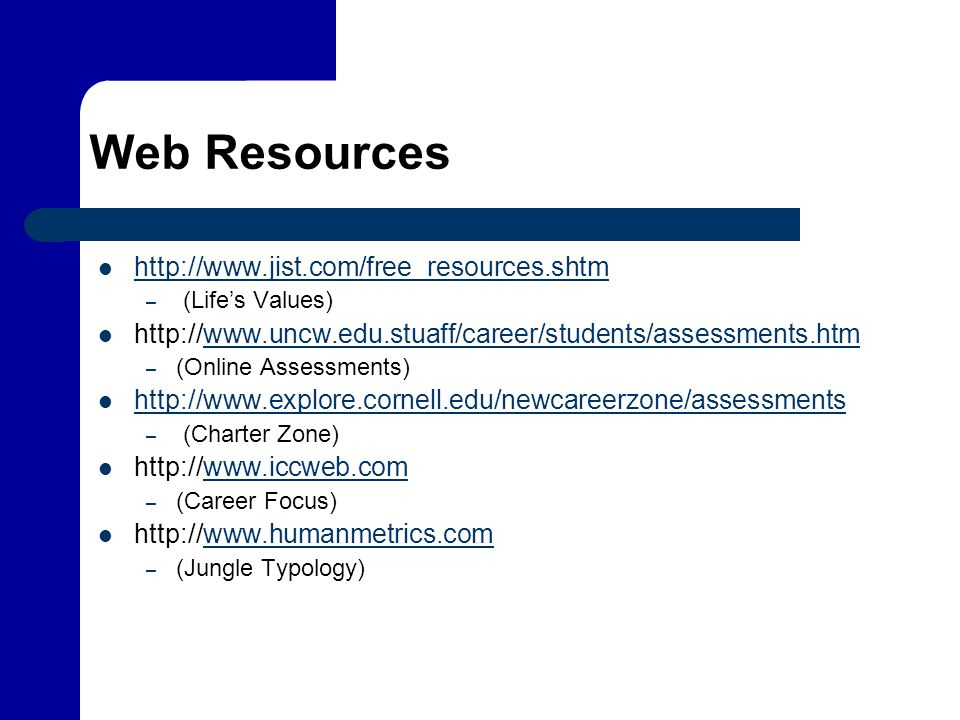 Web Resources http://www.jist.com/free_resources.shtm