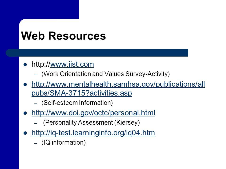 Web Resources http://www.jist.com