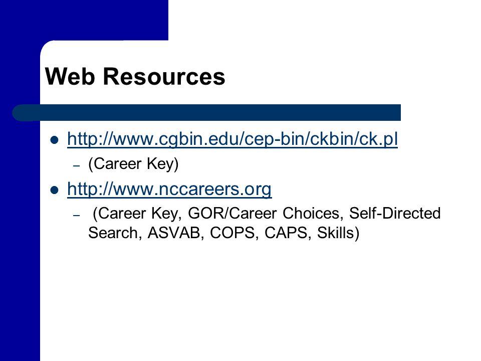 Web Resources http://www.cgbin.edu/cep-bin/ckbin/ck.pl