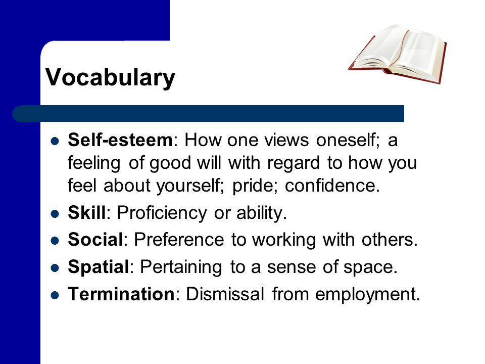 Vocabulary Self-esteem: How one views oneself; a feeling of good will with regard to how you feel about yourself; pride; confidence.
