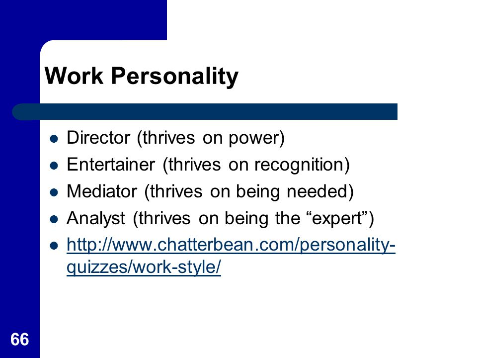 Work Personality Director (thrives on power)