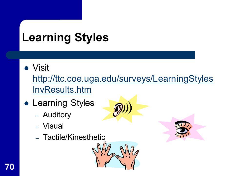 Learning Styles Visit http://ttc.coe.uga.edu/surveys/LearningStylesInvResults.htm. Learning Styles.