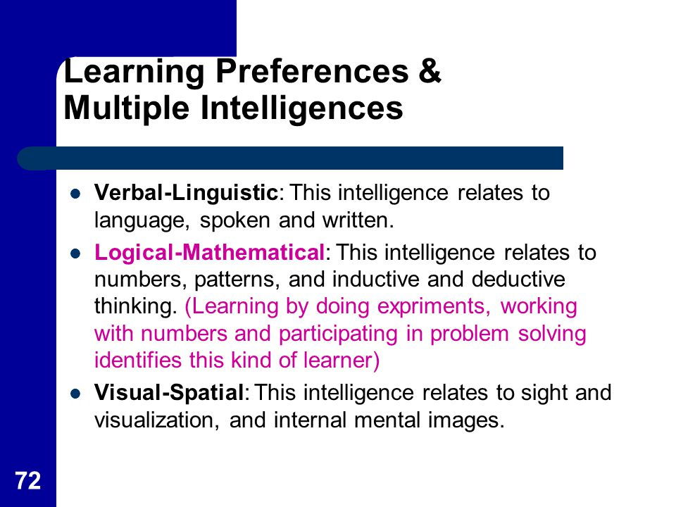 Learning Preferences & Multiple Intelligences