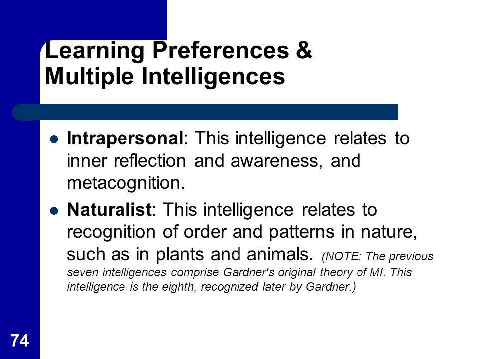 Learning Preferences & Multiple Intelligences