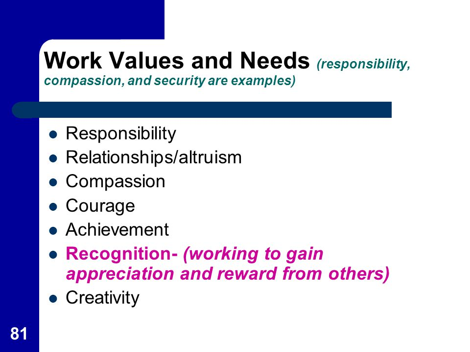Work Values and Needs (responsibility, compassion, and security are examples)