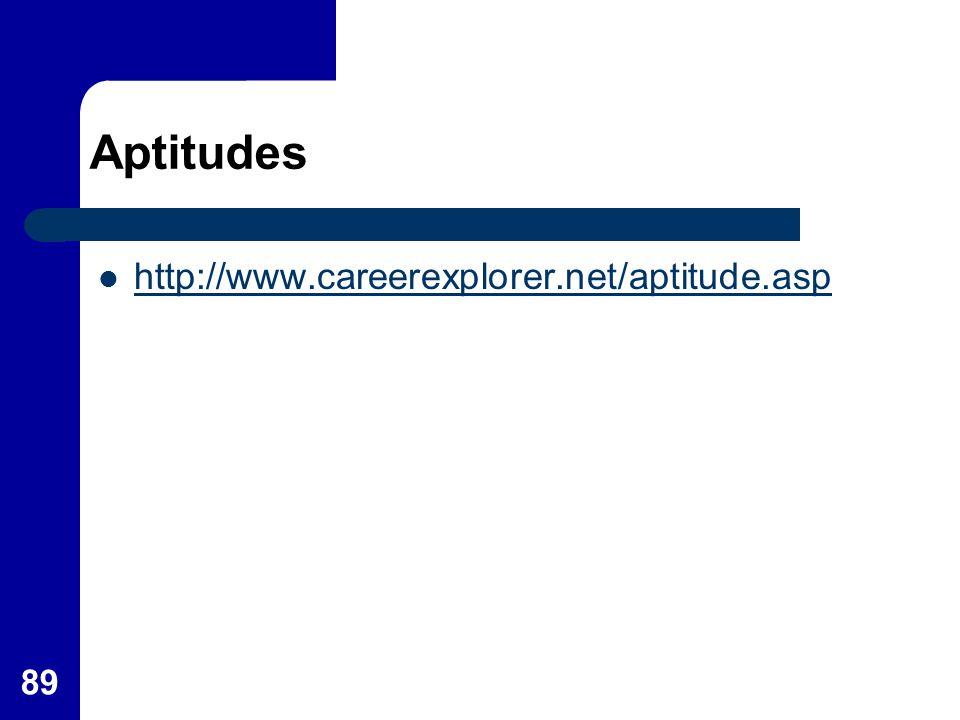 Aptitudes http://www.careerexplorer.net/aptitude.asp