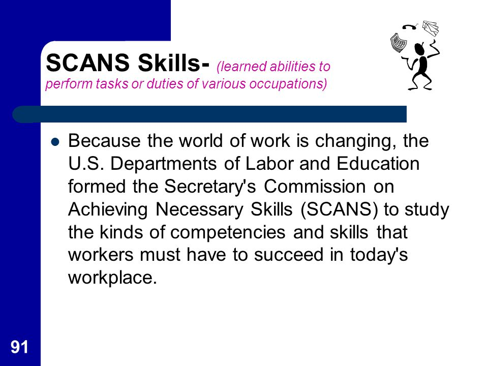 SCANS Skills- (learned abilities to perform tasks or duties of various occupations)
