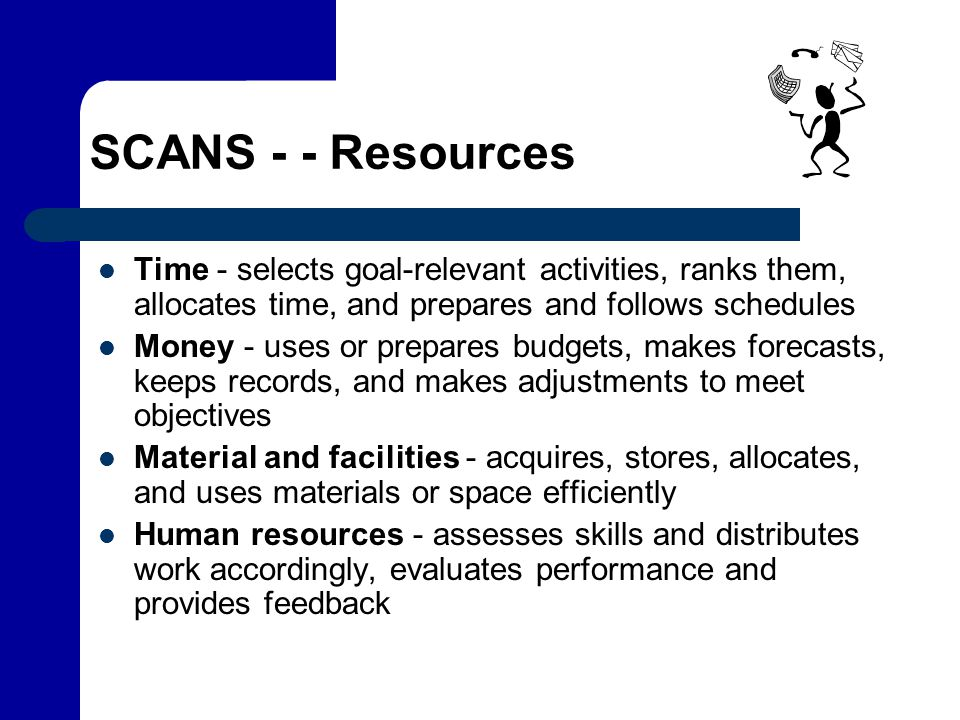 SCANS - - Resources Time - selects goal-relevant activities, ranks them, allocates time, and prepares and follows schedules.