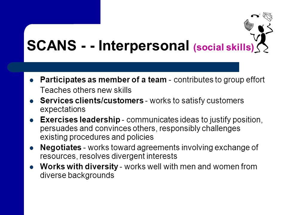 SCANS - - Interpersonal (social skills)