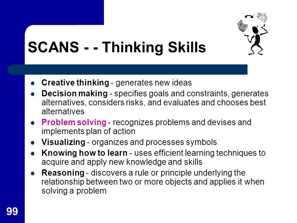 SCANS - - Thinking Skills