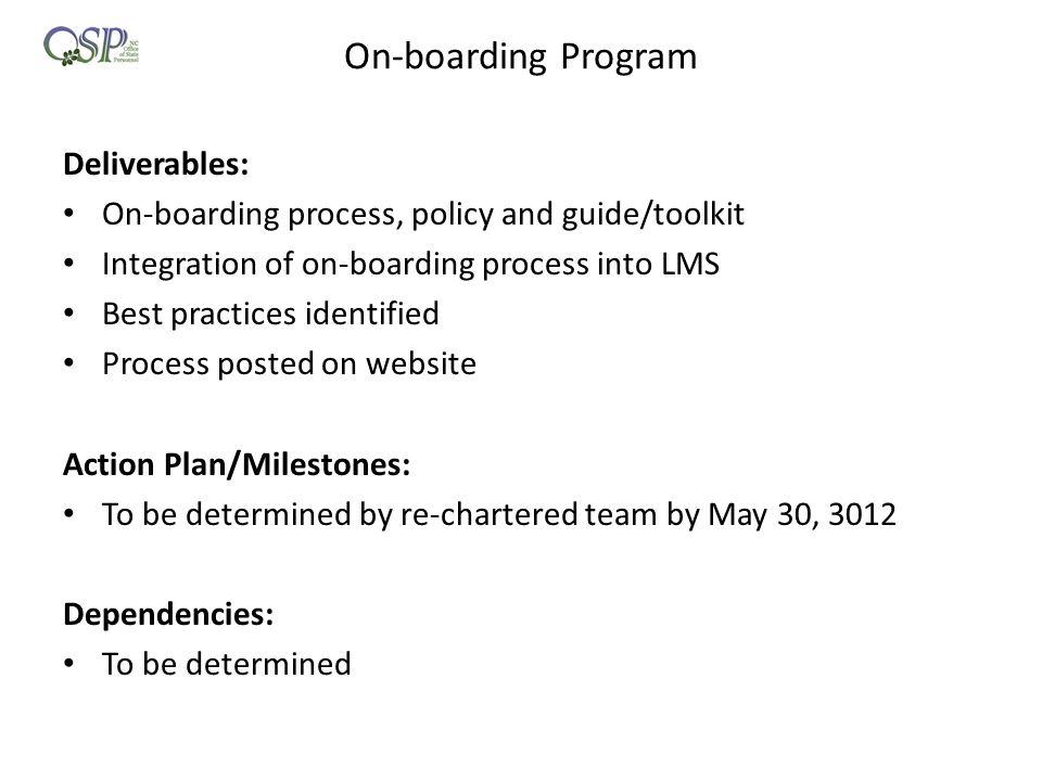 On-boarding Program Deliverables:
