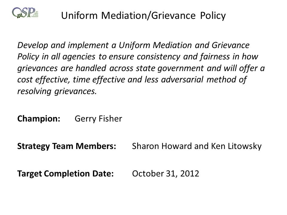 Uniform Mediation/Grievance Policy