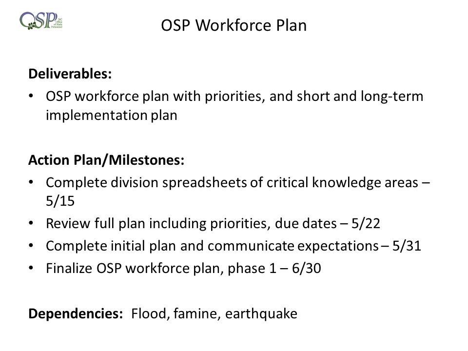OSP Workforce Plan Deliverables: