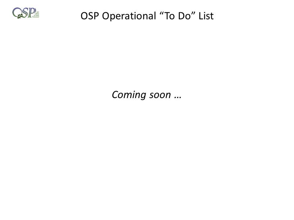OSP Operational To Do List