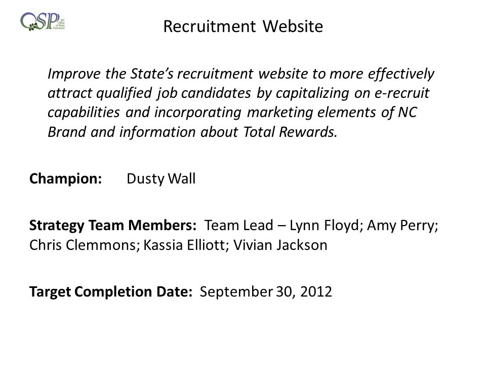 Recruitment Website Champion: Dusty Wall