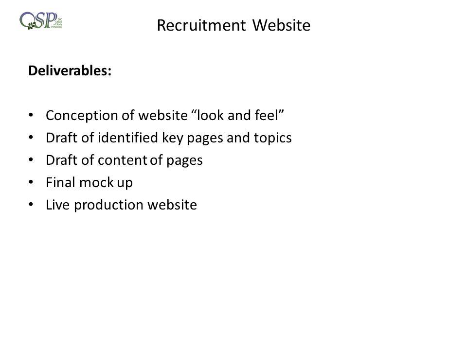 Recruitment Website Deliverables: