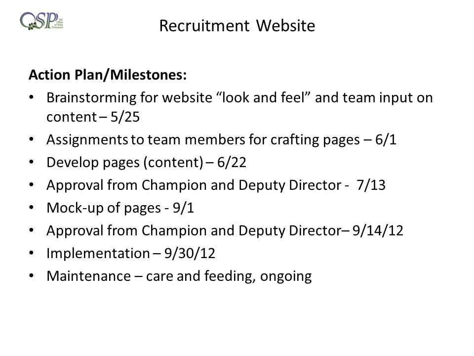 Recruitment Website Action Plan/Milestones: