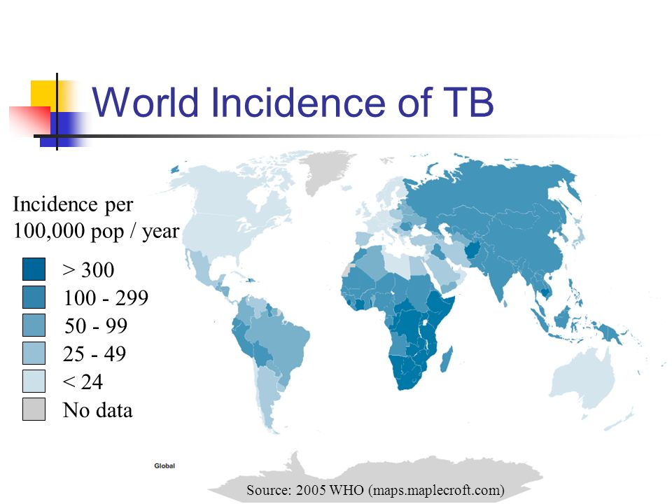 World Incidence of TB Incidence per 100,000 pop / year > 300