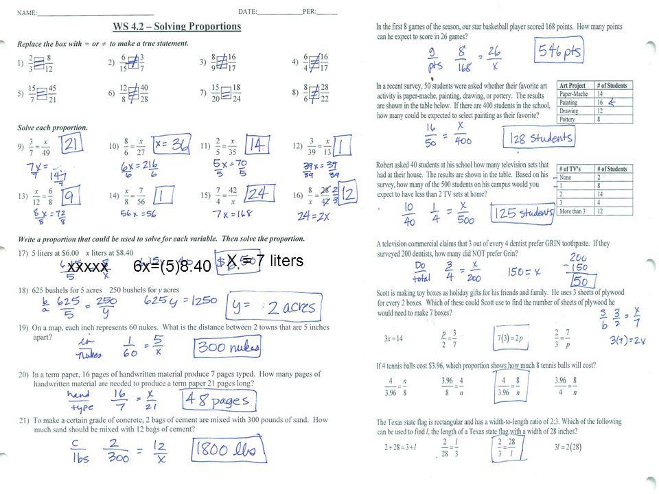 X = 7 liters xxxxx 6x=(5)8.40
