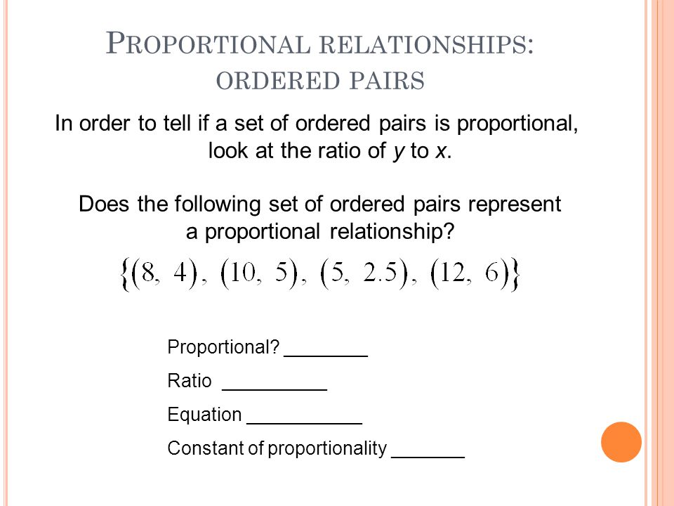 Proportional relationships: ordered pairs