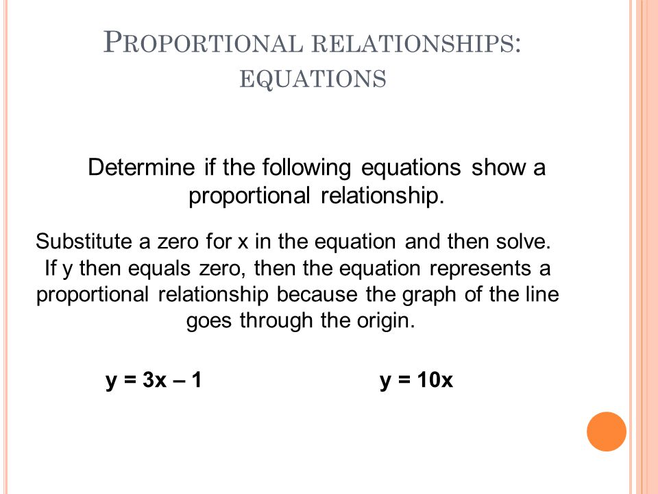 Proportional relationships: equations