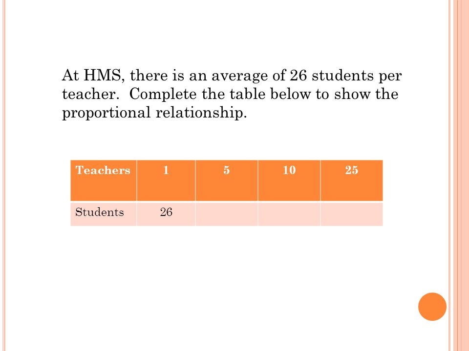 At HMS, there is an average of 26 students per teacher
