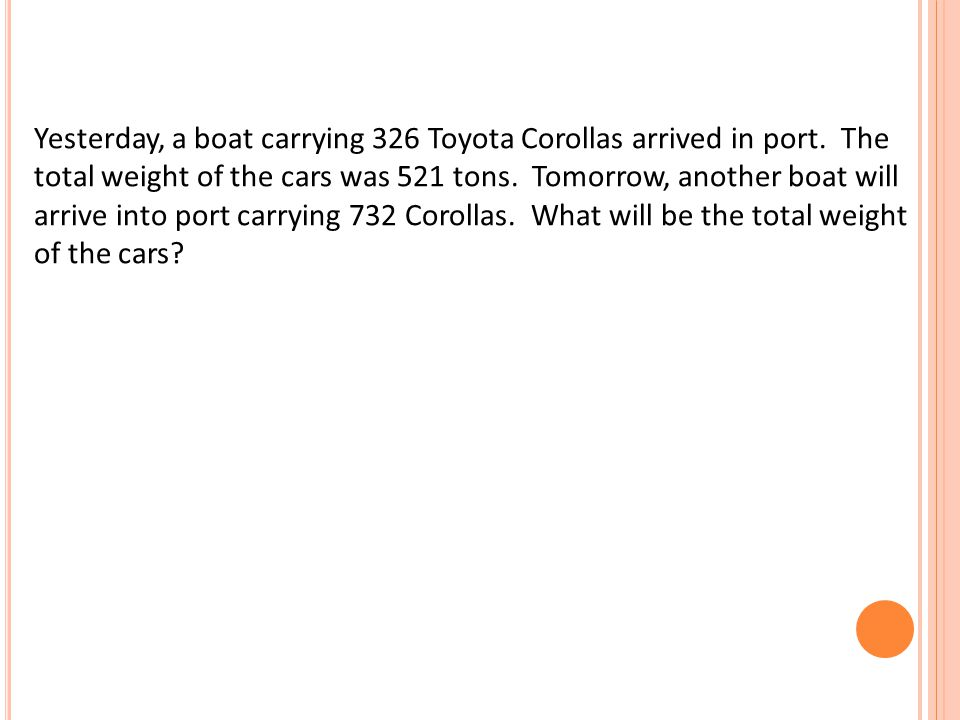 Yesterday, a boat carrying 326 Toyota Corollas arrived in port