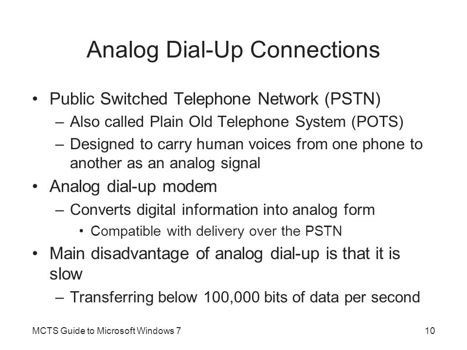 Analog Dial-Up Connections