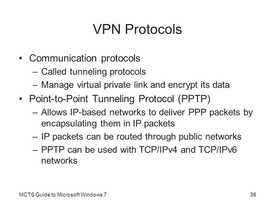 VPN Protocols Communication protocols