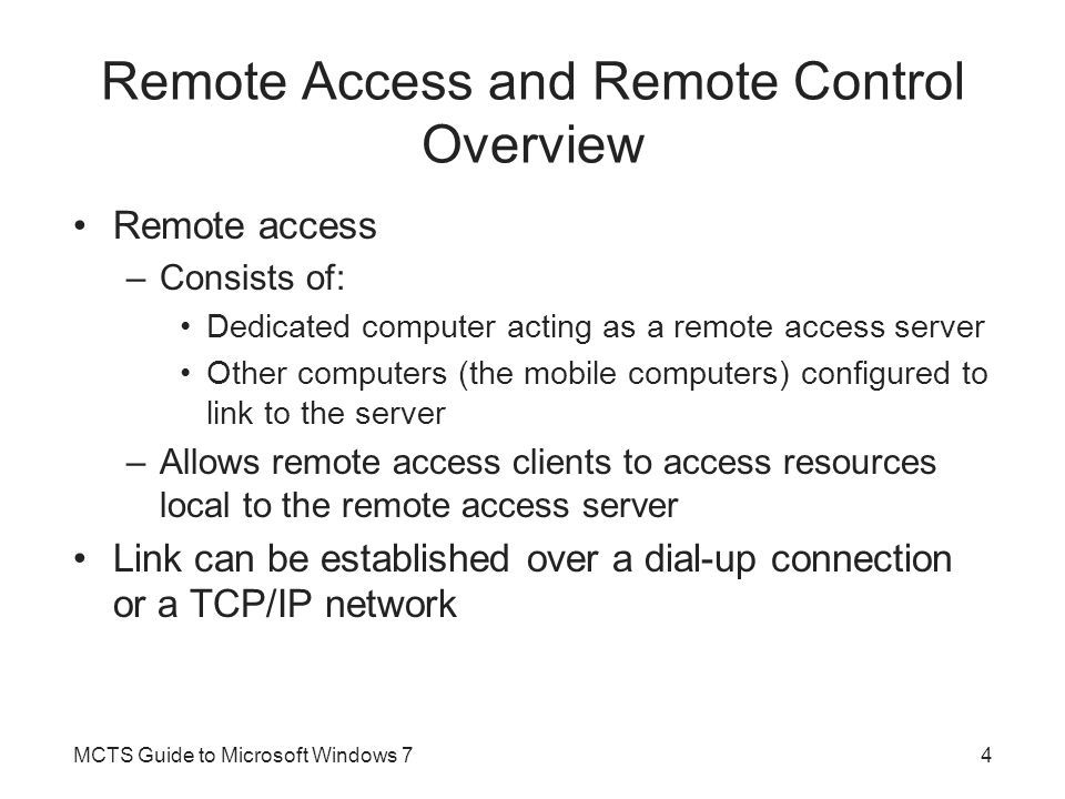 Remote Access and Remote Control Overview