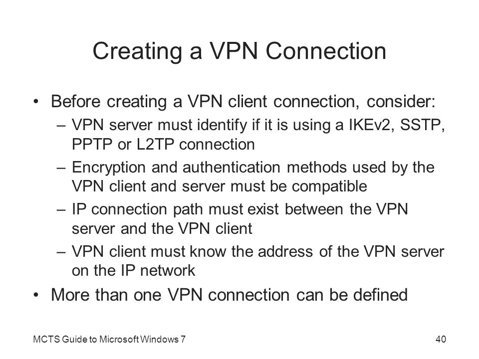 Creating a VPN Connection