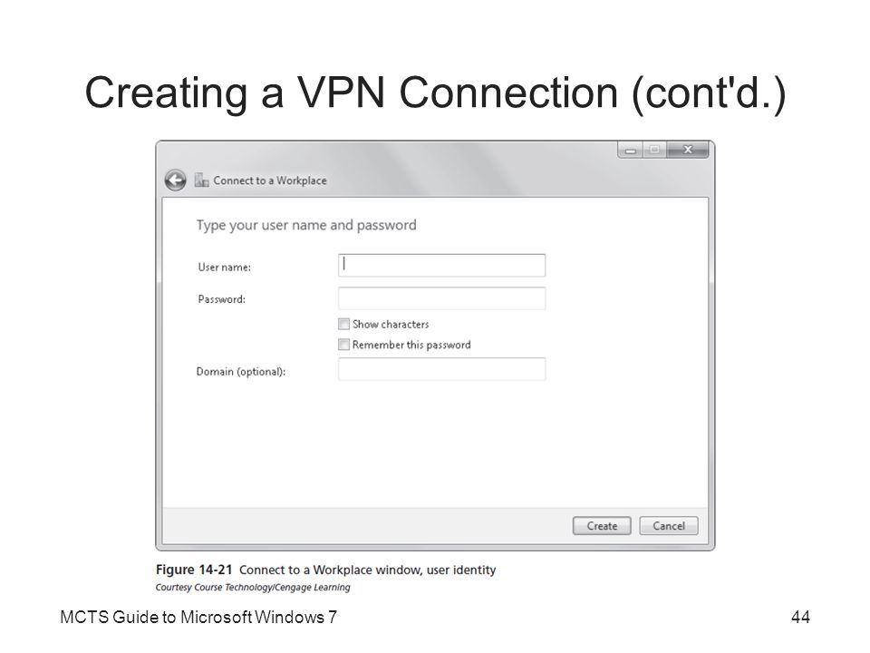 Creating a VPN Connection (cont d.)