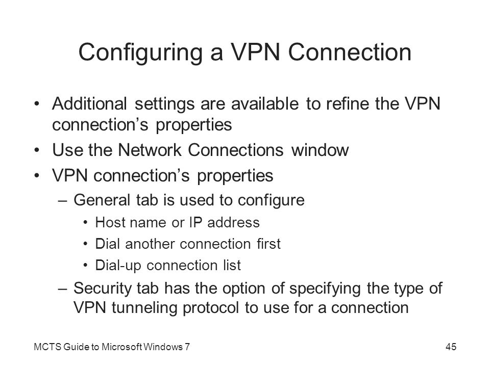 Configuring a VPN Connection