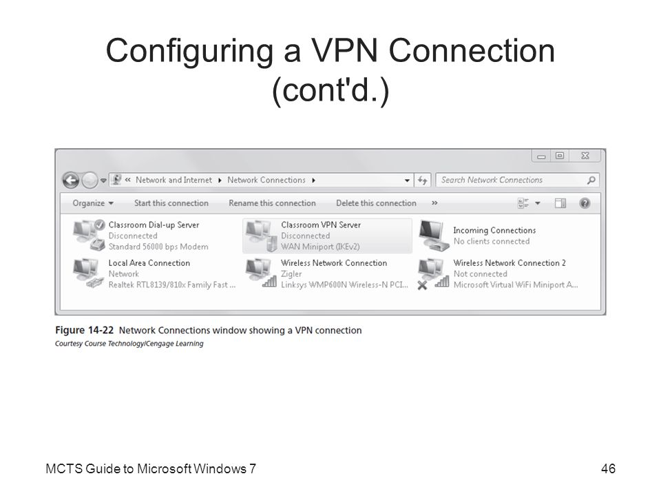 Configuring a VPN Connection (cont d.)