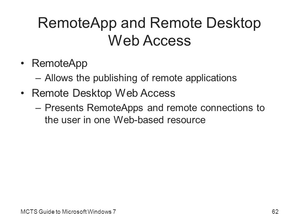 RemoteApp and Remote Desktop Web Access